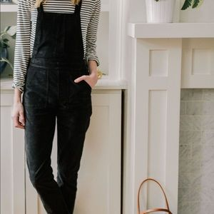 Madewell Black Velvet Overalls